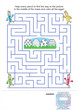 Easter maze game and coloring page for kids