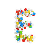 abstract letter E consisting of pills