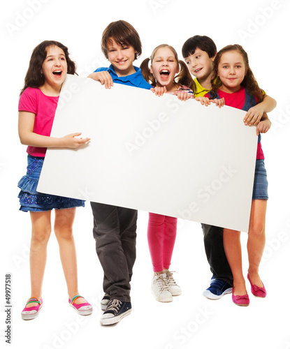Five kids showing blank board