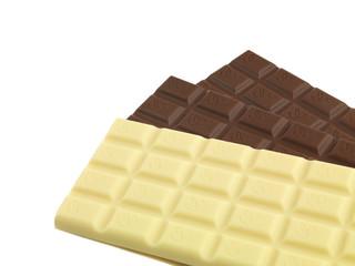 3 Tafeln Schokolade aufgefächert