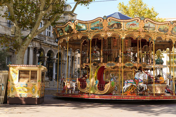 Carousel near the Palais des Papes in Avignon France.