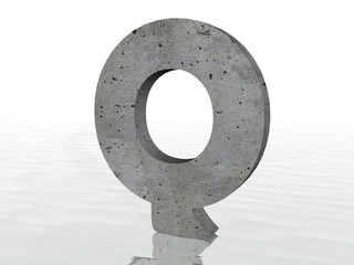 3D render of the text Q