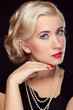 Hairstyle and make up. Retro blond woman portrait, beauty face l