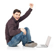 fun man with laptop raised hands up