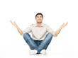 Sitting happy man with raised hands up