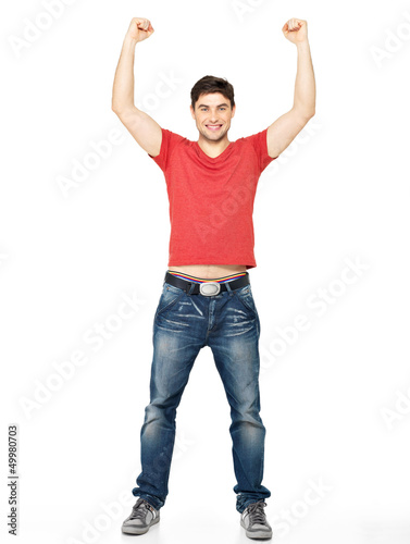 man with  in casuals with raised hands up isolated