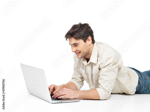 successful happy man with laptop