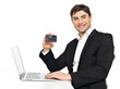 office worker with  laptop and credit card