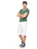 smiling happy man in white shorts and green t-shirt