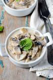 Mushrooms stewed in cream