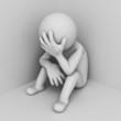Depressed 3d man sitting in corner of room