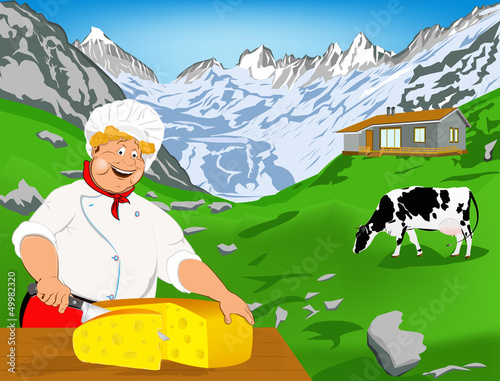 Foto op Canvas Boerderij Chef and Natural swiss dairy cheese from cow with alps meadow