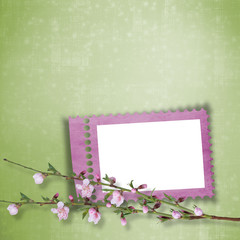 Beautiful abstract background with frame and branch of Sakura