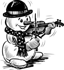 snowman playing the violin