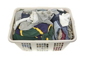 Laundered clothes in plastic hamper
