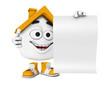 Kleines 3D Haus Orange mit blanko Schild