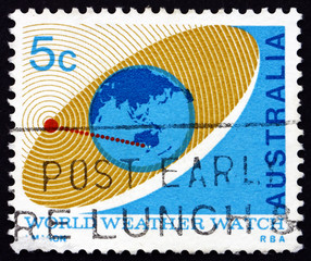 Postage stamp Australia 1968 Satellite Orbiting Earth