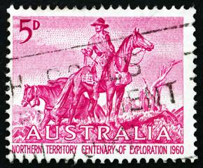Postage stamp Australia 1960 The Overlanders