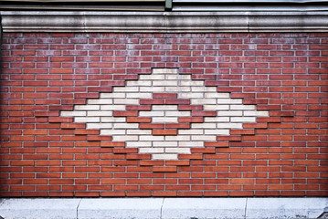 Pared de ladrillos con forma de rombo