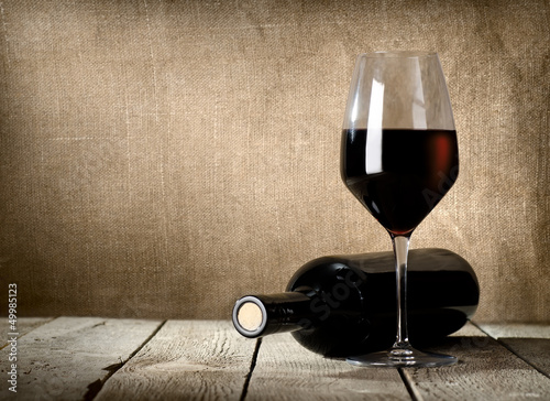 Black bottle and red wine