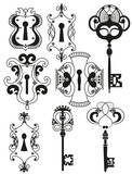 Vector Set of Antique Keys and Keyholes