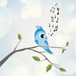 Cute bird sings on branch
