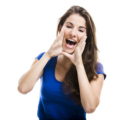 Beautiful woman shouting