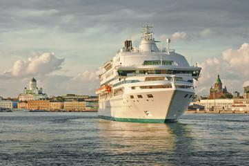 Cruise ship arriving at Helsinki port