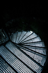 Frozen stair in winter