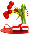 Red tulips and present box