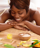 African woman on massage table