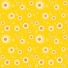 Seamless yellow retro background with flowers