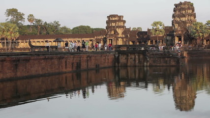Time lapse at dusk in Angkor wat, Cambodia