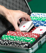 Poker set in metal suitcase. Addiction to the gambling