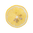 Slice of lemon on white background