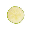 Slice of lime on white background
