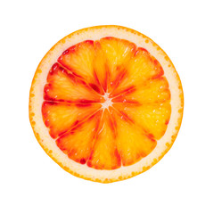 Slice of blood orange on white background