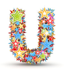 Letter U from colored stars