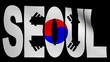 Seoul text with fluttering flag animation