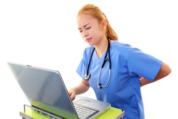 腰痛を訴える女医