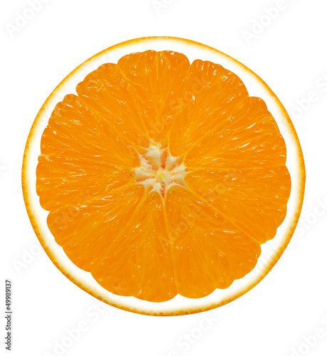orange fruit segments isolated on white background
