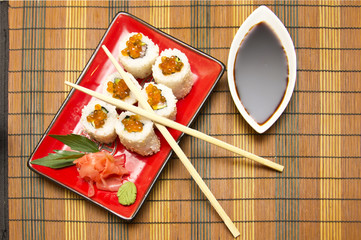 sushi rolls with ginger. sticks