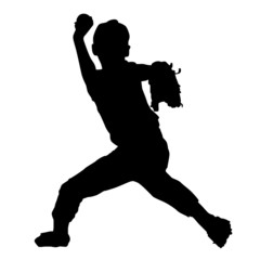 野球少年のシルエット