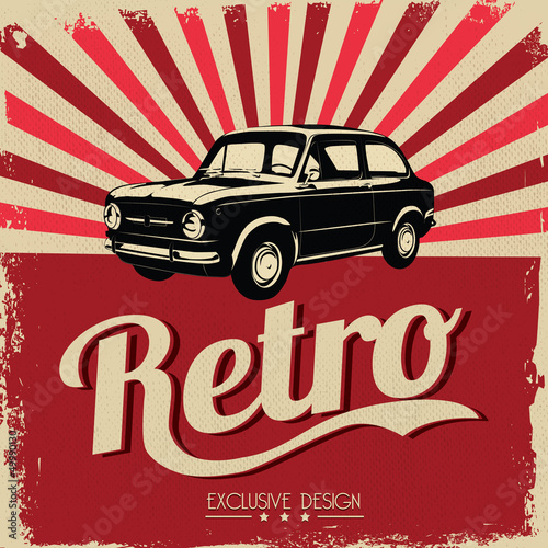 Fridge magnet Vintage car design flyer - Grungy style vector design