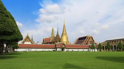 Time lapse landmark of Wat Phra Kaew in Bangkok, Thailand.