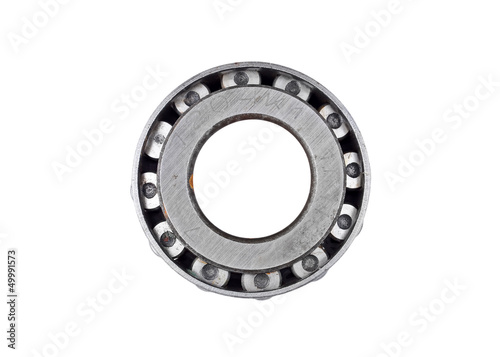 Old and dirty ball bearing, isolated on white background
