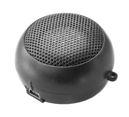 Portable mini speaker on a white background.