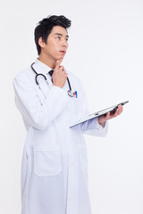 thinking Young Asian doctor.