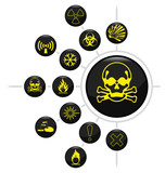 Hazard warning related icon set