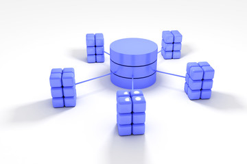 Database and network architecture isolated over white background